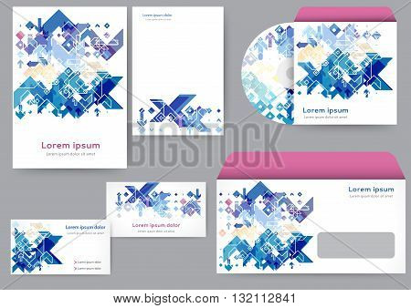 Abstract creative corporate identity template with geometric elements