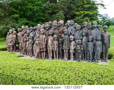 LIDICE, CZECH REPUBLIC - CIRCA JUNE 2013: The Childrens War Victims Monument in the place where was destroyed village of Lidice, circa in June 2013.