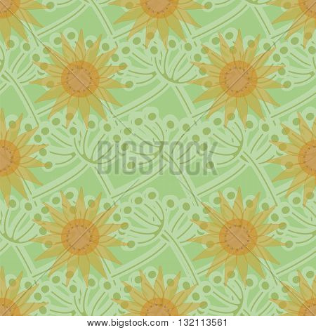 Seamless ornament made in the romantic - natural style. Large flowers are on the background of interwoven blades of grass. Vector illustration.