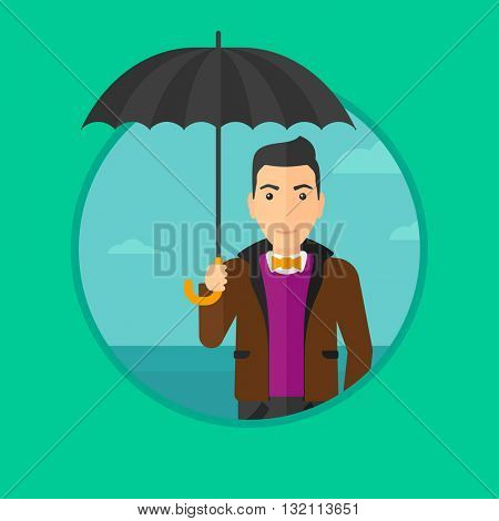 A businessman standing with open umbrella on the background of blue sky. Businessman under open umbrella. Happy man with umbrella. Vector flat design illustration in the circle isolated on background.