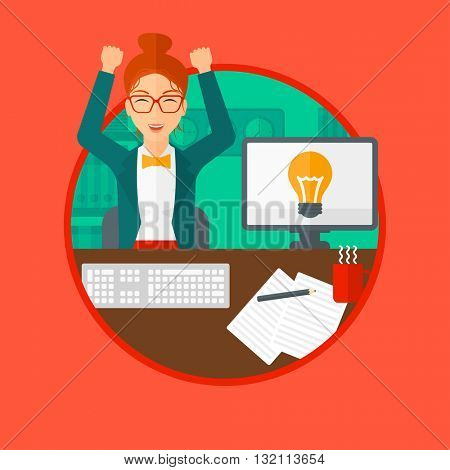 Woman with arms up having business idea. Woman working on a computer with a business idea bulb on a screen. Business idea concept. Vector flat design illustration in the circle isolated on background.