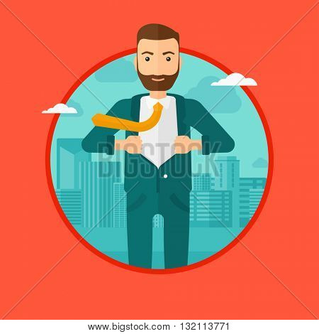 A hipster businessman with the beard opening hisr jacket like superhero on the background of modern city. Businessman superhero. Vector flat design illustration in the circle isolated on background.