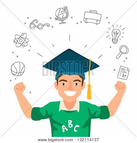 Portrait of a boy in a hat of the graduate. The concept of school education. Vector illustration on a white background with school icons.