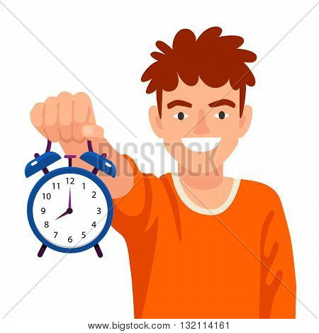 Funny boy holds an alarm clock in a hand. The concept of school education. Vector illustration on white background. Back to school.