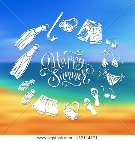 Life is better at the beach. Circe frame from swimsuits flippers and flip flops. Summer illustration with text. Collection of beach accessories in hand drawn style.