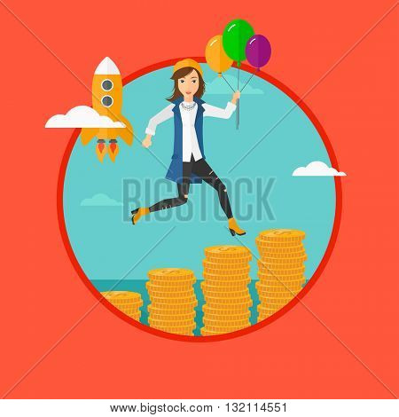 A woman with balloons flying over golden coins and a business start up rocket flying nearby. Business start up and growth concept. Vector flat design illustration in the circle isolated on background.