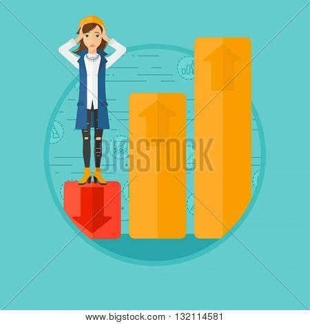 A frightened female bankrupt clutching her head. Bankrupt standing on chart going down. Concept of business bankruptcy. Vector flat design illustration in the circle isolated on background.