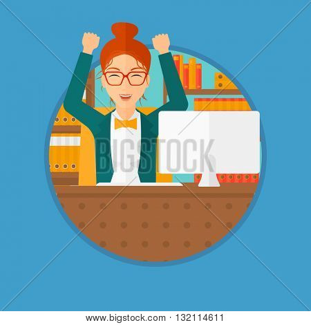 A successful business woman celebrating with arms up while sitting at the table in office. Successful business concept. Business vector flat design illustration in the circle isolated on background.