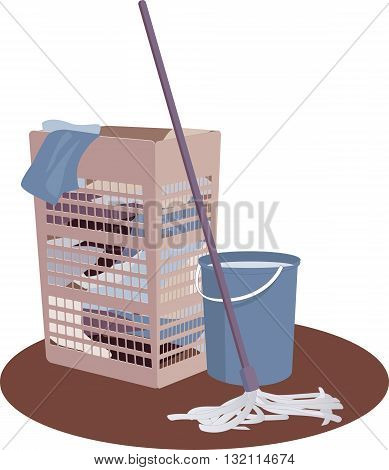 Laundry hamper, bucket and mop, EPS8 vector illustration