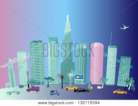 Cityscape in the evening, cars on a background of skyscrapers