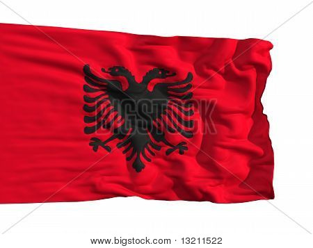 Flag Of Albania, Fluttering In The Wind