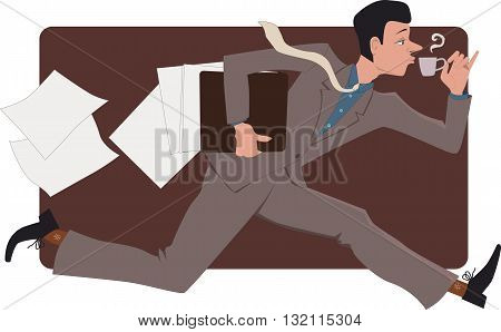 Man running with a cup of coffee, losing papers, vector illustration