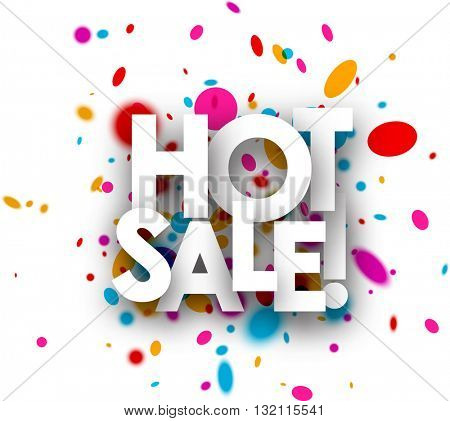 White hot sale paper background with color drops. Vector illustration.