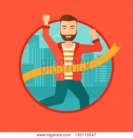 A hipster businessman with the beard running at the finish line. Businessman crossing finish line. Concept of business success. Vector flat design illustration in the circle isolated on background.