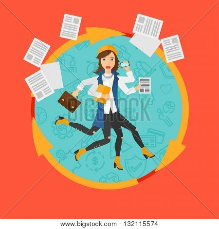 A business woman with many legs and hands holding papers, briefcase, smartphone. Multitasking and productivity concept. Business vector flat design illustration in the circle isolated on background.