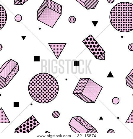 Geometric trendy 80s retro memphis seamless pattern. Minimalism funky hipster texture for phone case, poster, textile, art print