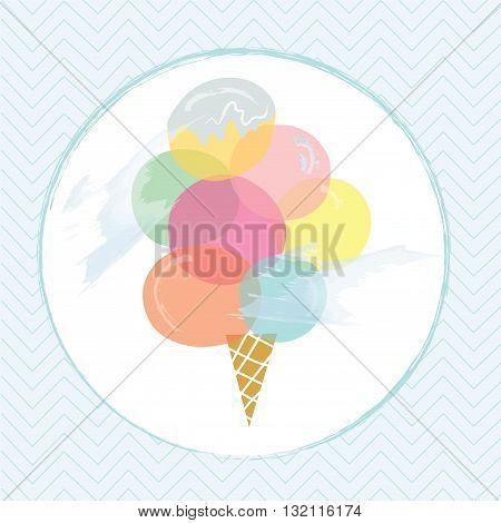 Icecream label design for summer vector illustration