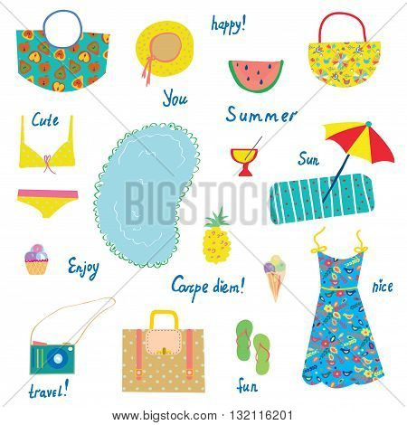 Summer icons set funny design - for vacations travel joy. Vector illustration