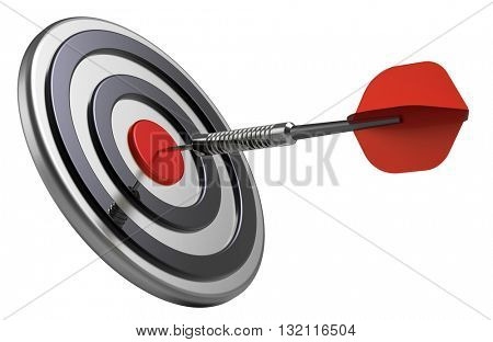 Red target and dart close-up isolated on white background. 3D illustration.