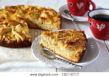Apple piel and two cups of coffee