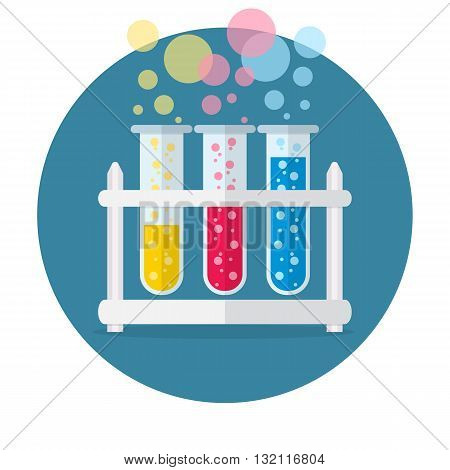test tubes bubbling sparkling liquid. Science, education, chemistry, experiment, laboratory concept. vector illustration in flat design icon