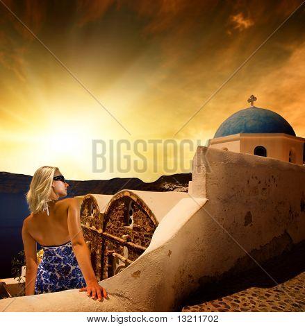 Beautiful young woman on Santorini Island (Greece)