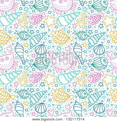 Vector seamless pattern with fish star shell crab anchor and bubble. Hand drawn doodle sea elements. Bright color objects on white background.