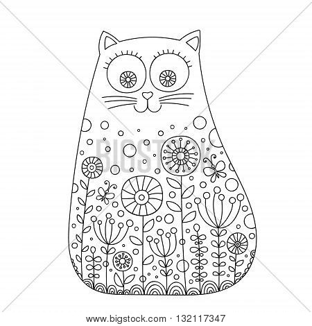 Cute doodle cat. Vector hand drawn cat with doodle ornament. Spring cat design for kids. Isolated. Color page for children.
