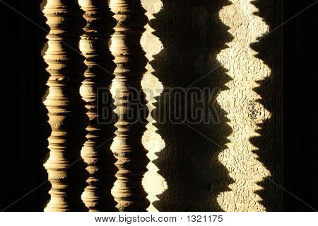 Shadow Of Window D?Cor In Buddhist Temple