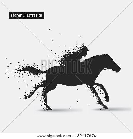Horseback riding. Vector eps10 illusration. Particle divergent composition