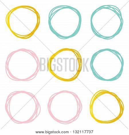 Cute decorative abstract scribble round shape design elements set, frames isolated on white background.