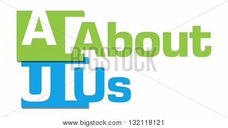 About us text written over green blue background.