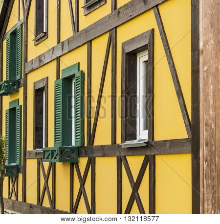 Colorful facade of building