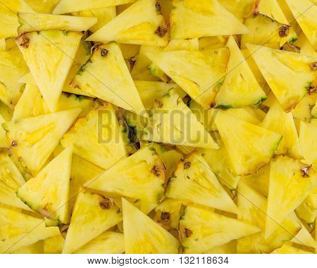 Slices cut pineapple triangles macro pineapple Slices
