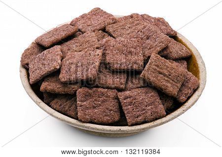 Red rice crackers, nutrition snack on white background