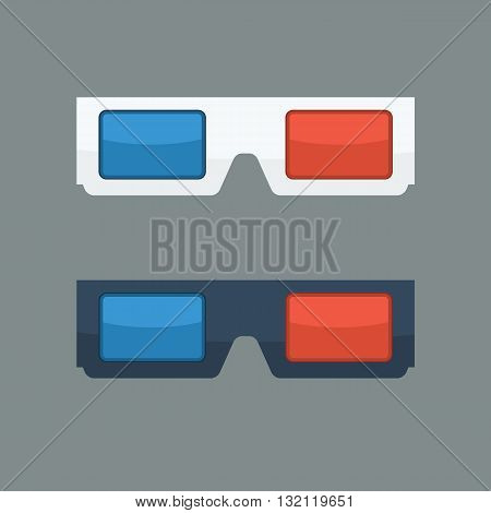 3D glasses vector illustration with flat color style. Black and white 3D glasses for movies. 3D glasses icon concept.