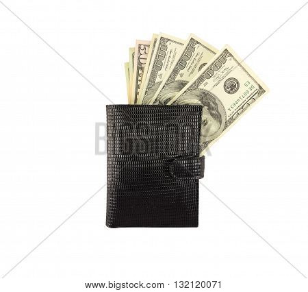 Money Dollars In A Black Wallet