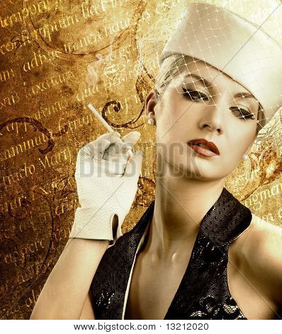 Beautiful smoking woman over abstract vintage background