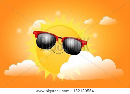 Illustration of summer sun with sunglasses between clouds