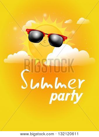 Illustration of summer sun with sunglasses between clouds with text summer party