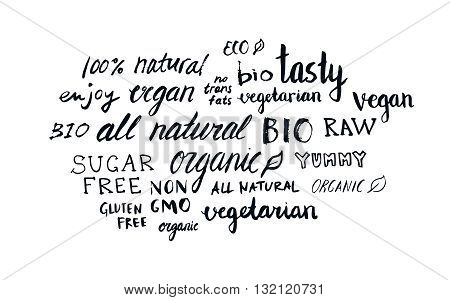 Set of different hand written healthy food words vegan vegetarian natural organic raw bio