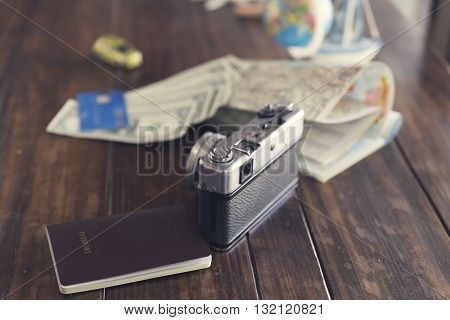 Globe, Passport, Credit Card, Banknote, Camera,map, Car And Ship Figurine For Use As Trip Vacation C