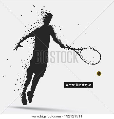 Tennis Player, Vector eps10 illusration. Particle divergent composition
