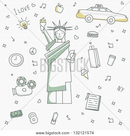 New york lifestyle icons for design and patterns.