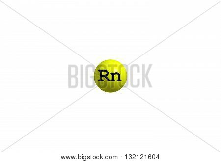 Radon is a chemical element with symbol Rn. It is a radioactive colorless odorless tasteless noble gas. 3d illustration