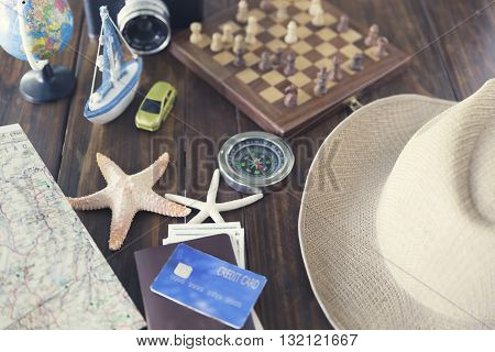 Hat, Chessboard, Compass, Passport, Credit Card, Banknote, Globe, Camera, Map, Ship Car And Starfish