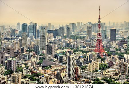 Aerial view of Tokyo with Tokyo Tower - Japan
