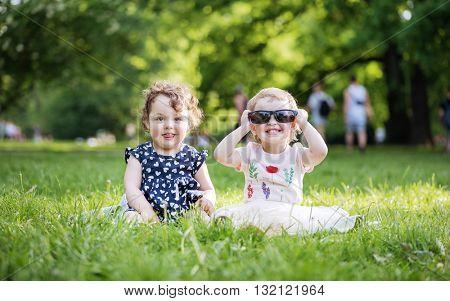 Happy little kids in park