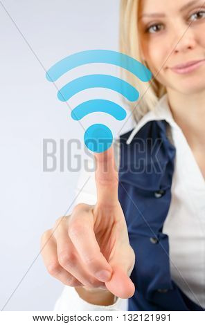 Business Woman Clicks On The Icon Wi Fi