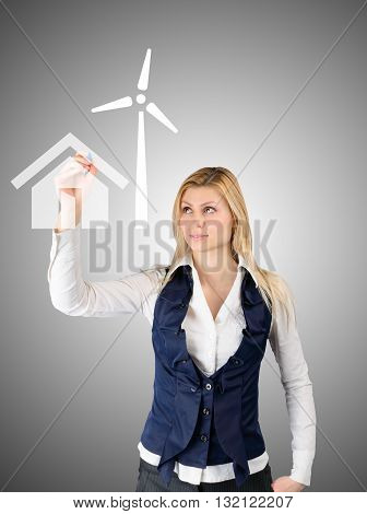 Business Woman Presents The Future Of The House With Self-contained Power Consumption